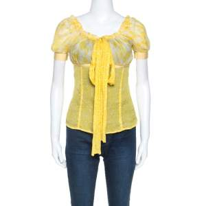 D&G Yellow Floral Print Sheer Silk Crepe Elasticized Neck Blouse S