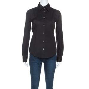 Dolce & Gabbana Black Stretch Cotton Button Front Tailored Shirt S