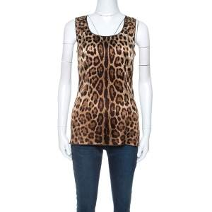 Dolce & Gabbana Beige Leopard Print Silk Sleeveless Top M