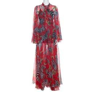 Dolce & Gabbana Red Printed Silk Tie Neck Detail Maxi Dress S