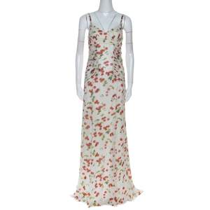 Dolce and Gabanna White Cherry Print Ruched Detail Sleeveless Dress M