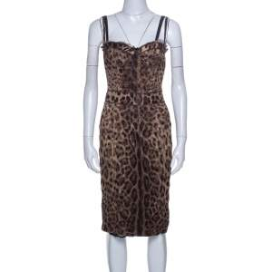 Dolce & Gabbana Brown Leopard Print Silk Tulle Bustier Dress S