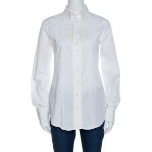 Dolce & Gabbana Off White Cotton And Silk Pintuck Detail Shirt S