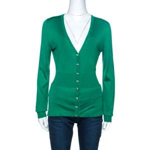Dolce & Gabbana Green Knit Crystal Button Detail Cardigan M