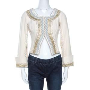 Dolce & Gabbana Vintage Cream Cotton Embroidered Cutout Detail Jacket M