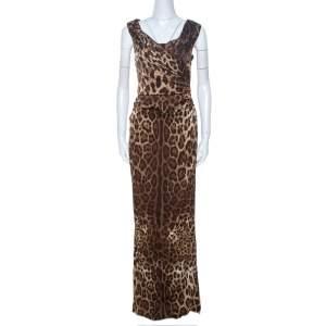 Dolce & Gabbana Brown Leopard Print Silk Draped Maxi Dress M