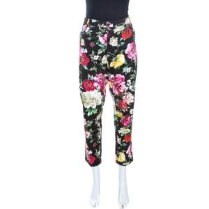Dolce & Gabbana Multicolor Floral Printed Cotton Tapered Trousers XL