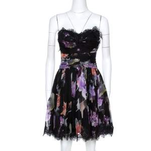 Dolce & Gabbana Black Floral Print Silk Lace Trim Strapless Dress S