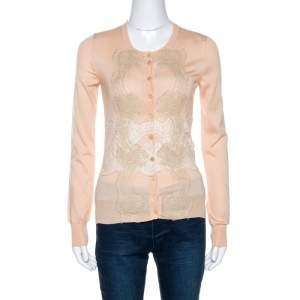 Dolce & Gabbana Light Peach Cashmere Lace Trim Cardigan S