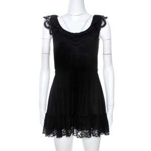 Dolce & Gabbana Black Knit Lace Trim Detail Mini Dress M