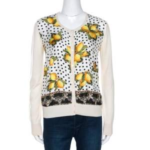 Dolce & Gabbana Cream Lemon Print Silk Wool Cardigan M