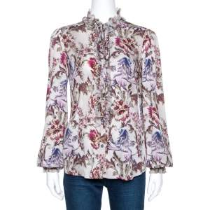 Dolce & Gabbana Grey Floral Print Silk Ruffle Front Blouse M