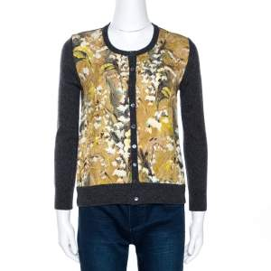 Dolce & Gabbana Grey Floral Jacquard Panelled Wool Cardigan S