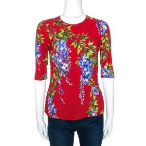Dolce & Gabbana Red Wisteria Floral Print Crepe Blouse S