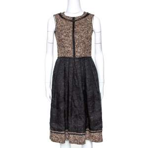 D&G Black and Brown Tweed Silk Overlay Flared Dress XS