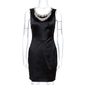 D&G Black Satin Embellished Sleeveless Dress M
