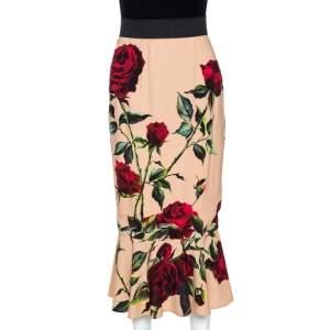 Dolce & Gabbana Beige Rose Print Crepe Flounce Skirt S