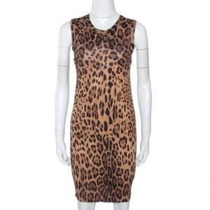 Dolce & Gabbana Brown Leopard Print Knit Fitted Dress S