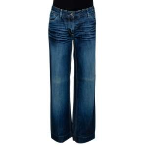 Dolce & Gabbana Indigo Medium Washed Denim Wide Leg Jeans L