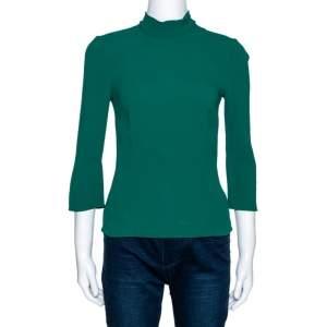 Dolce & Gabbana Green Stretch Crepe Necktie Detail Blouse XS