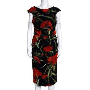 Dolce & Gabbana Black And Red Floral Printed Draped Midi Dress M