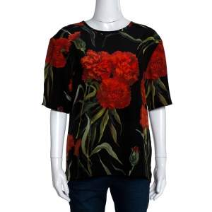 Dolce & Gabbana Black and Red Floral Printed Short Sleeve Top L