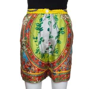 Dolce & Gabbana Multicolor Sicilian Print Silk Shorts M