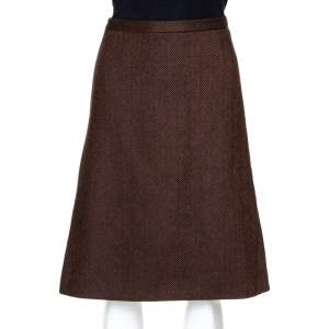Dolce & Gabbana Brown Herringbone Wool A Line Skirt S
