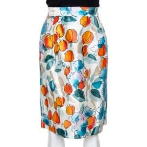 Dolce & Gabbana Mutlicolor Raw Silk Floral Print High Waist Skirt S