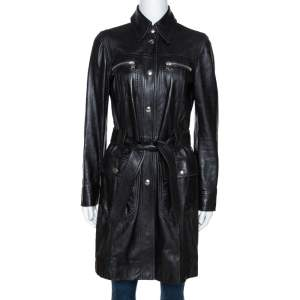Dolce & Gabbana Black Lamb Leather Belted Trench Coat S