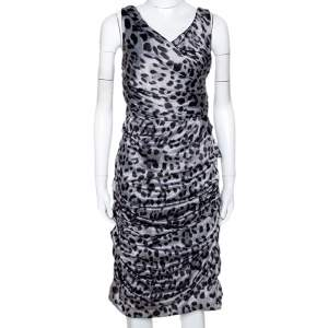 Dolce & Gabbana Grey Animal Print Silk Ruched Sleeveless Dress M