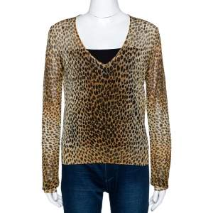 Dolce & Gabbana Leopard Print Lurex Knit Sheer Fitted Top L