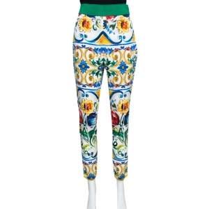 Dolce & Gabbana Majolica Printed Silk Elasticized Waist Skinny Pants L