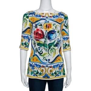 Dolce & Gabbana Multicolor Majolica Print Silk Three Quarter Sleeve Top M