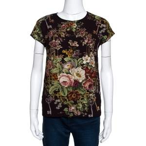 Dolce & Gabbana Brown Crepe Key Print Short Sleeve Top XS