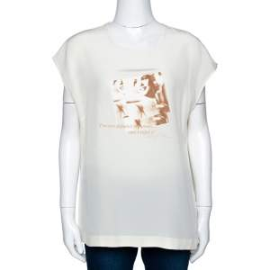 Dolce & Gabbana Cream Marilyn Monroe Print Silk Top XL