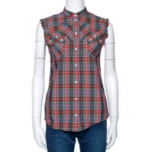 Dolce & Gabbana Grey & Red Plaid Cotton Sleeveless Button Front Shirt S