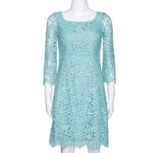 Dolce & Gabbana Mint Green Lace Scalloped Hem Sheath Dress S