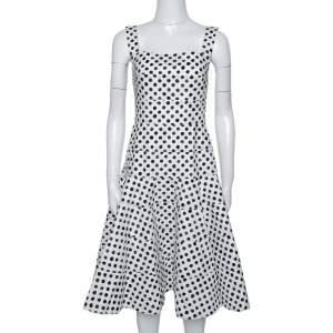 Dolce & Gabbana Monochrome Polka Dot Cotton Panelled Flared Midi Dress S