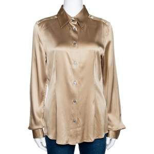 Dolce & Gabbana Beige Stretch Silk Satin Long Sleeve Shirt L