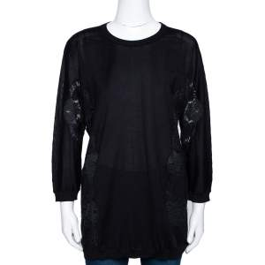 Dolce & Gabbana Black Cashmere Silk Lace Trim Long Sleeve Top L