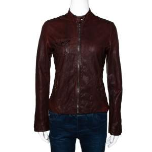 Dolce & Gabbana Brown Leather Zip Front Jacket S