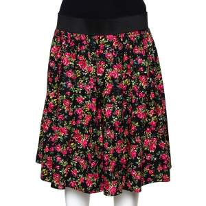 Dolce & Gabbana Black Floral Printed Cotton Flared Skirt L