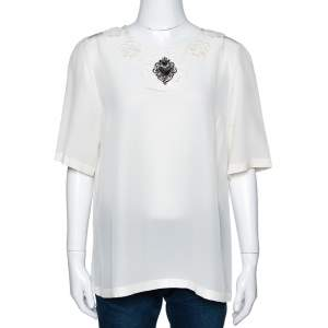Dolce & Gabbana Cream Silk Floral Applique Sacred Heart Top L