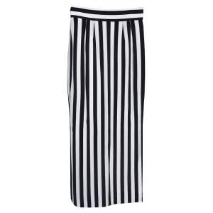 Dolce & Gabbana Monochrome Striped Crepe Maxi Skirt S