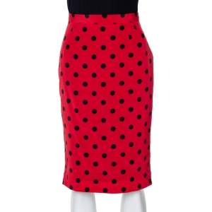 Dolce & Gabbana Red Polka Dot Silk Pencil Skirt S
