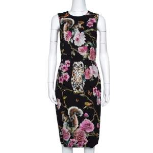 Dolce & Gabbana Enchanted Forest Print Crepe Fitted Dress S