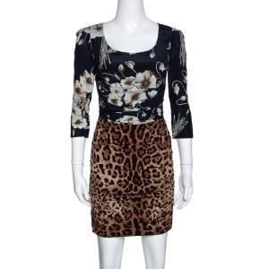 Dolce & Gabbana Brown Mixed Print Silk Ruched Dress S