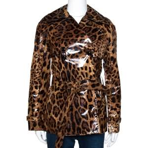 Dolce & Gabbana Brown Leopard Print Belted Trench Coat S