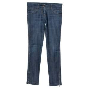 Dolce & Gabbana Blue Cotton Blend Denim Low Rise Jeans S